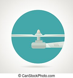 Drone propeller flat vector icon - Gray airscrew a side view...