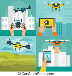 Drone quadcopter banner concept set, flat style
