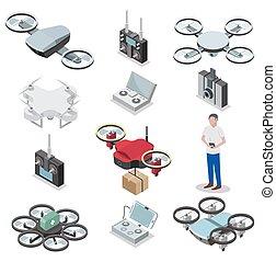Drone quadcopter vector isometric icon set