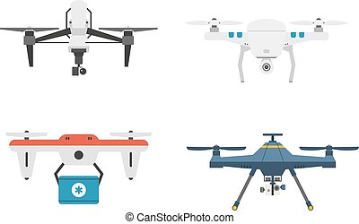 Drone quadcopter vector set.