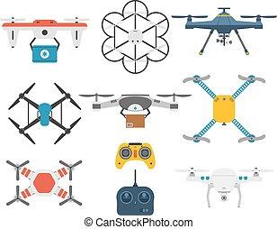 Drone quadcopter vector set.