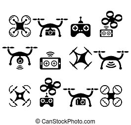 Drone quadcopter with camera and controller icons set