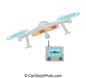 Drone quadcopter with camera and remote control vector icon