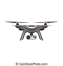 drone quadrocopter wireless fly camera vector sign