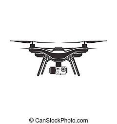 drone quadrocopter flat sign - drone quadrocopter wireless...