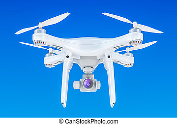 Drone quadrocopter in the blue sky, 3D rendering