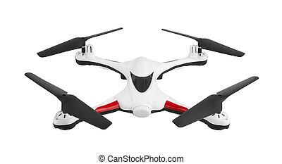 Drone, quadrocopter on white
