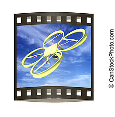 Drone, quadrocopter, with photo camera against the sky. 3D illustration. The film strip