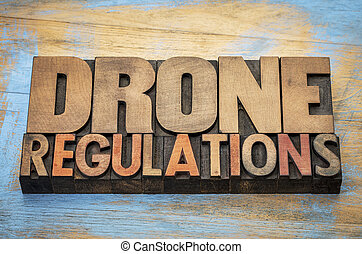 drone regulations word abstract