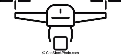 Drone relocation icon, outline style - Drone relocation icon...
