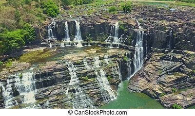 Drone Removes from Pictorial Waterfalls Cascade to River...