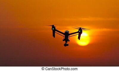 Drone revolves around its axis against the background of the...