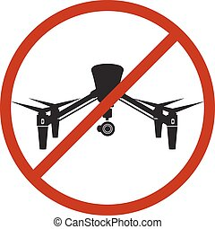 Drone Safety Sign Prohibit Air Fly Danger Zone Vector Illustration
