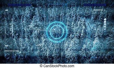 Drone Scanning Frozen Landscape POV