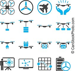 Drone shipment icon set designed with blue and gray colors....