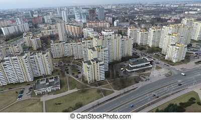 Drone shot in Minsk Hero City Obelisk - An aerial shot of...