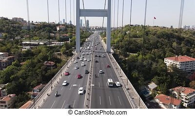 Aerial view of Bosphorus Bridge in Istanbul. 4K Footage in Turkey (Fatih Sultan Mehmet Koprusu/Bridge)