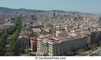 Drone shot of Barcelona city historic center