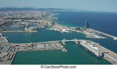 Drone shot of Barcelona coast and harbors - Aerial view of...