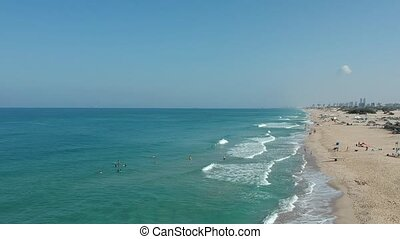 Drone shot of beach in Israel shot clip