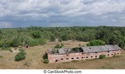 Drone shot of destroyed farm in Chernobyl zone - Aerial view...