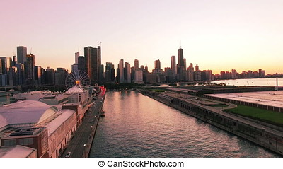 Drone Shot of Downtown Chicago 4 - Drone Shot of Downtown...