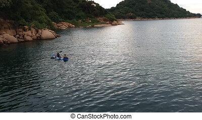 Drone shot of Kayaking Near Shore of Lake Malawi