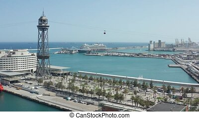 Drone shot of sea port in Barcelona with cable car - Drone...