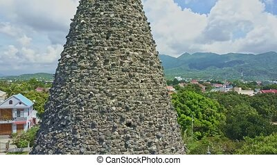 Drone Shows Ancient Coral Buddhist Temple Cone Tower