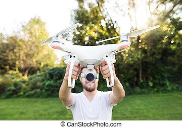 drone., soleado, joven, verde, tenencia, hipster, nature.,...