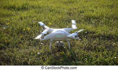Drone starts the engines and takes off