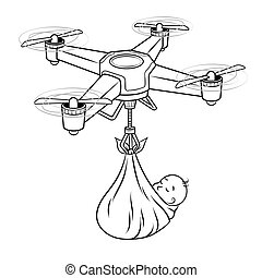 Drone stork with newborn baby coloring vector