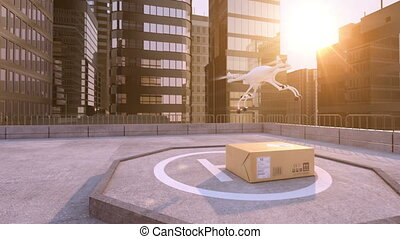 Drone takes away a parcel on a building roof. Beautiful...