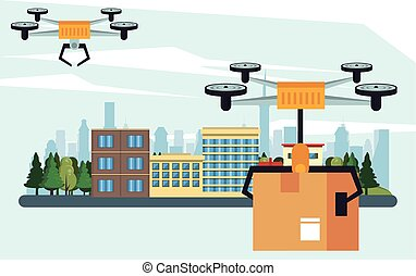 drone technology flying with box on the city