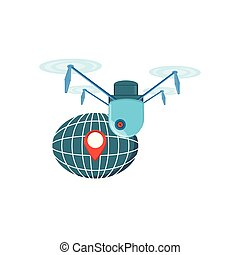 drone technology flying with sphere planet