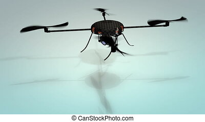 """Drone technology, quadcopters."" - ""Computer generated, ..."