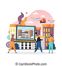 Drone technology vector concept for web banner, website page