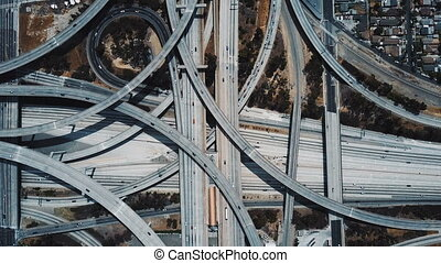 Drone top view of epic highway junction interchange with...