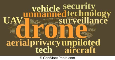 Drone, unmanned aerial vehicle . - Illustration with word...