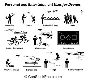 Vector icons of drones uses on leisure, social, sports event, photography, record footage, racing game, display, and scaring birds away.