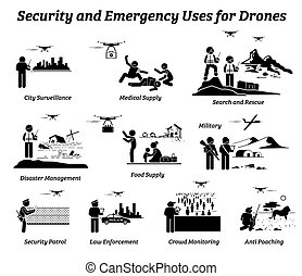 Vector icons of drones uses on surveillance, medical supply delivery, rescue, disaster, military, police, crowd monitoring, and anti poaching.