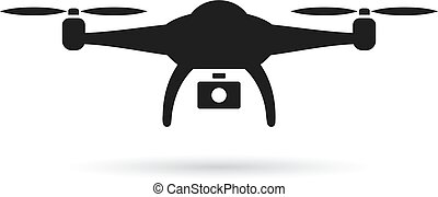 Drone vector icon on white background