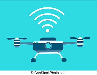 Drone vector icon. Style is flat bicolor blue and white symbol, rounded angles, blue background