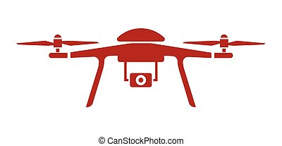 Drone vector icon - Vector illustration of the drone flying...