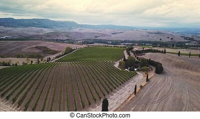 Aerial Flight Over Tuscany Fields