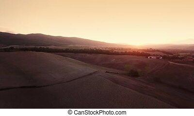 Aerial Flight Over Tuscany Fields