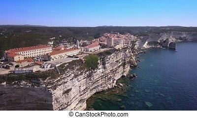 Drone video - flying over Bonifacio marina - Corsica, France