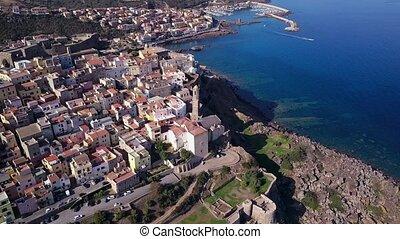 Drone video - flying over Castelsardo city - Sardinia, Italy