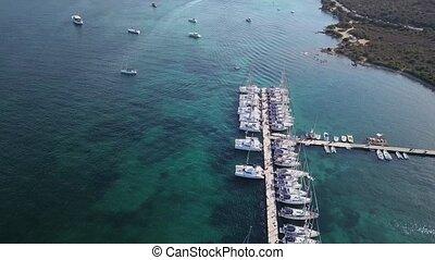 Drone video - flying over Portisco marina - Sardinia, Italy