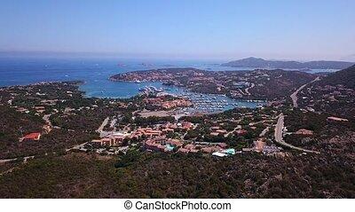 Drone video - flying over Porto Cervo marina - Sardinia,...